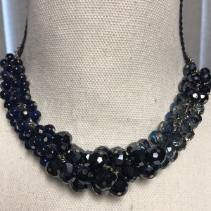 WHBM Multi Blue Cluster Bead Silver Necklace